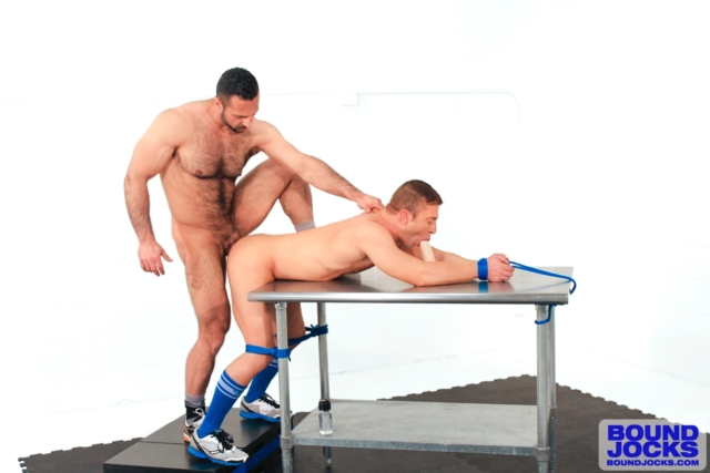 Dude bends over table as five hotties with strapons take turns fucking his ass - 3 part 4