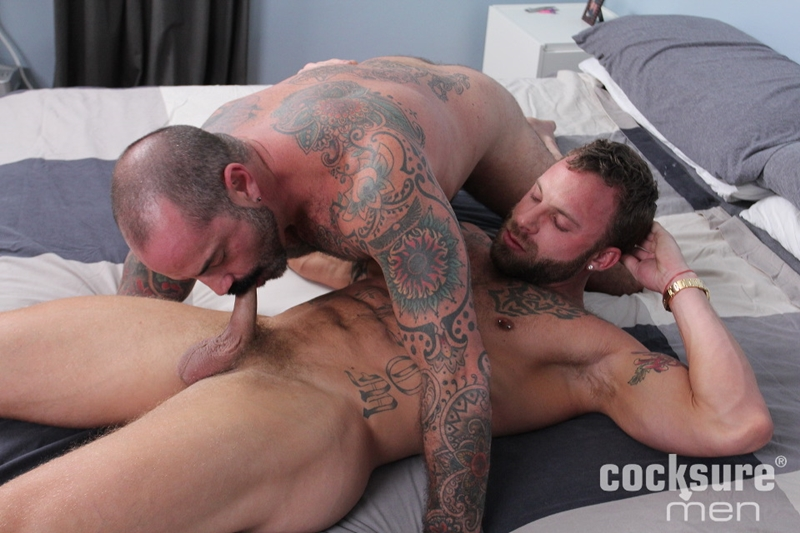 Scotty Rage spreads his smooth ass open licking Derek Parker's tight hole