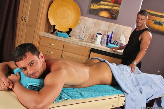 Donny Wright and nude masseur Cody Cummings