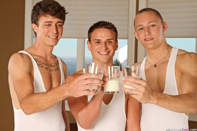 Gay twink threesome with Trevor Laster, Jackson Taylor and Dane Riley