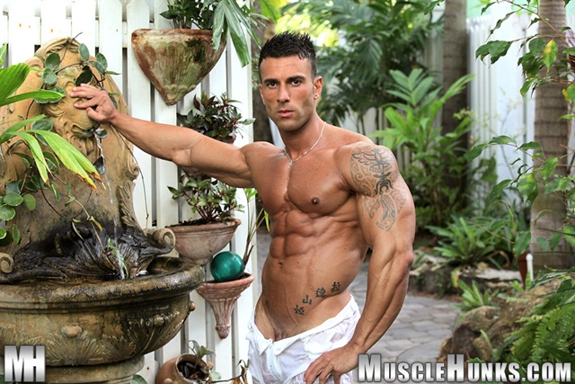 A very big dick Gianluigi Volti shed his inhibitions by the pool