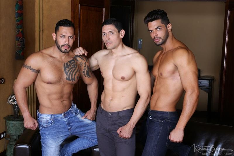 Hard ripped muscle hunks Viktor Rom, Lucas Fox and John Rodriguez raw ass fuck