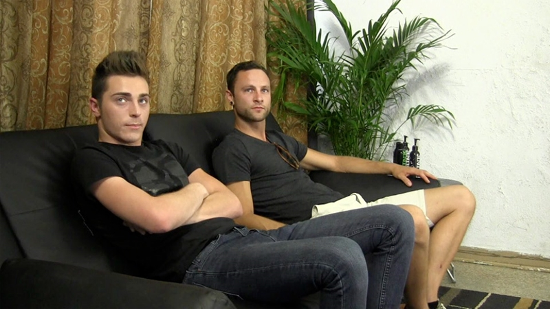 Gage and Alex take turns lubing up their cocks and fucking each other's thighs and ass cracks
