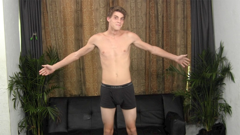 20 year old Brad jacks his big dick and quickly busts a nut
