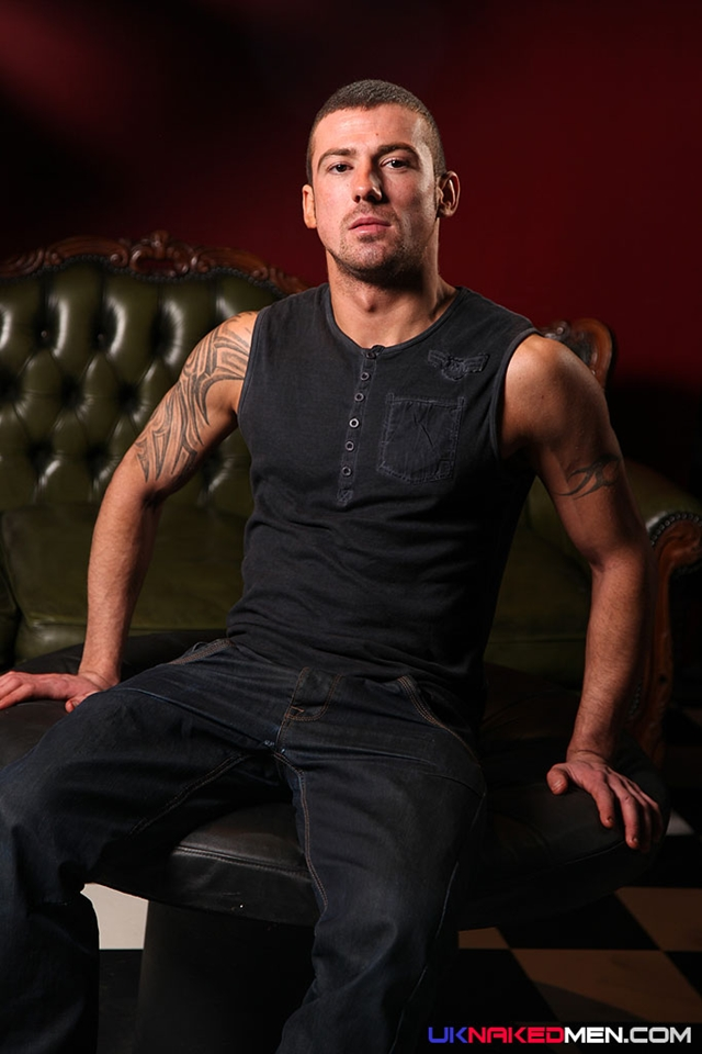 Tattooed muscle stud Marco Sessions at UK Naked Men