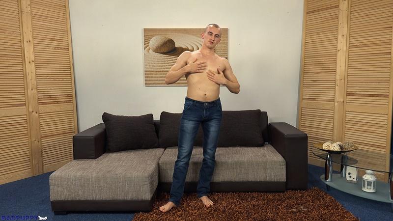 23 year old Oleg Moloda jerks his huge uncut cock to a massive cumshot