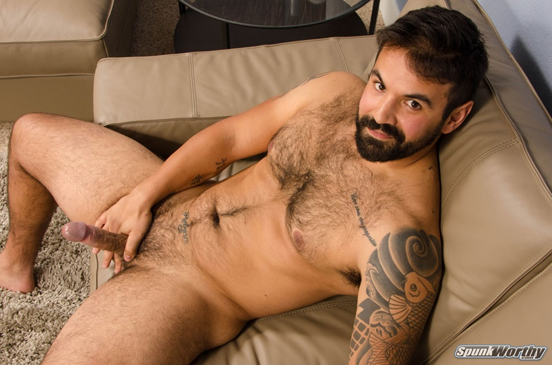 Straight hairy chested hunk Freddy jerks out a huge cum load emptying his balls