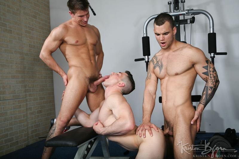 Hot naked muscle men Marco Rubi, Ivo Kerk and Adam Rupert hardcore bareback ass fucking