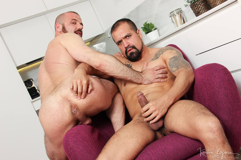 Amir Dib explodes a huge load of cum that flies from Felipe Ferro's pink hole to his bearded face