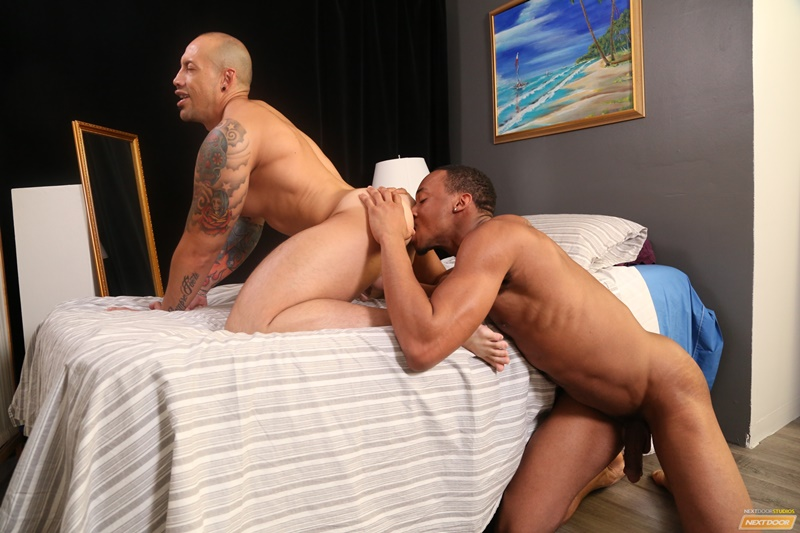 Trent B offers Jordano Santoro a taste of his massive uncut black cock