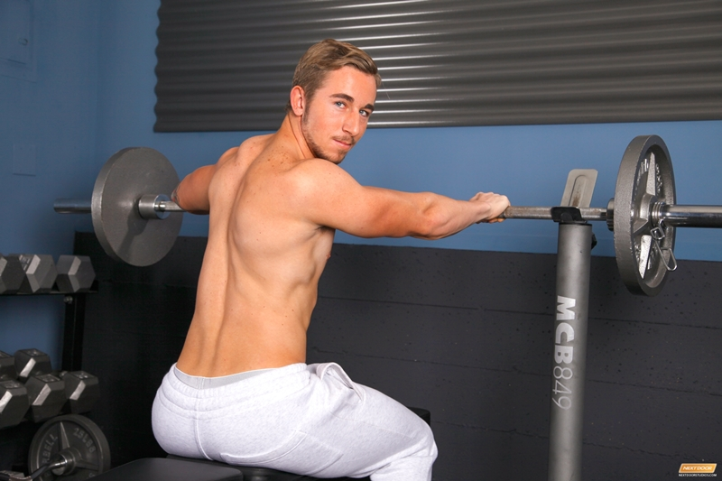 Young sexy ballet dancer Chris wanking out a full cumload