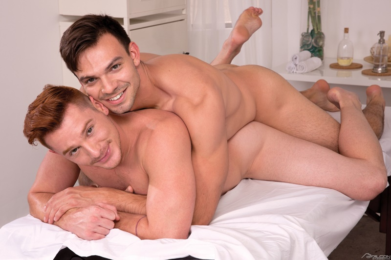 Brent Corrigan uses his strong legs to fuck himself on Jason Maddox's stiff dick