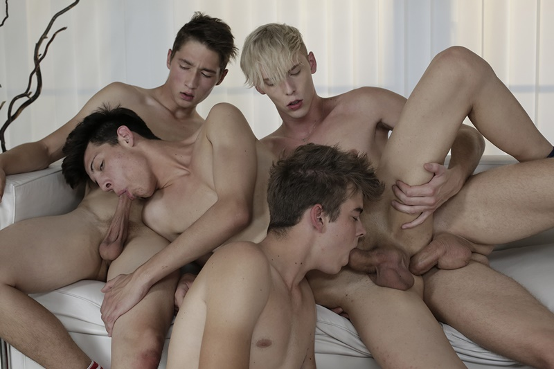 Hot naked twink foursome Kris Blent, Andy Scott, Camil Chaton and Simon Caress anal fucking orgy
