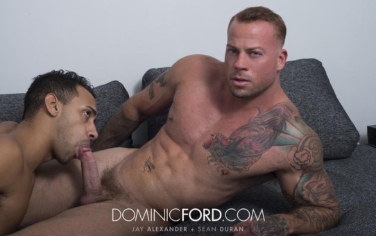 Dominic Ford Bareback Jay Alexander huge raw cock breeds Sean Duran's bare asshole