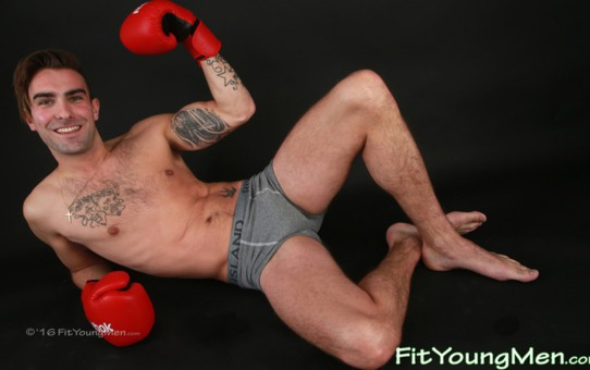 Young naked muscled sportsman Jack Jackson strips out of his sexy tight underwear