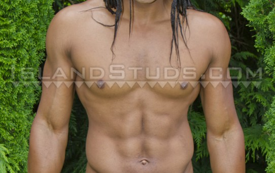Island Studs Darion flexes and poses in his sexy underwear stripping fully naked for a sweaty nudist workout