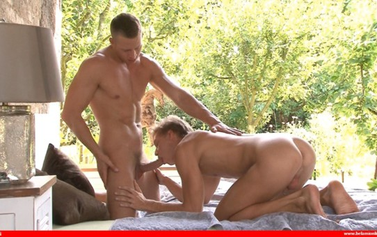 Sexy blond muscle boys Zac Dehaan and Christian Lundgren hardcore bareback ass fucking