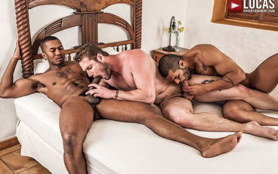 Ace Era's huge muscle dick fucks both Sean Xavier and Lucas Fox's tight muscled bubble butts