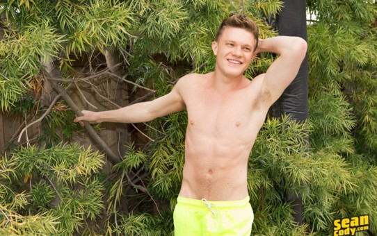 Sean Cody young stud Barron strips naked and pumps his asshole with a big dildo