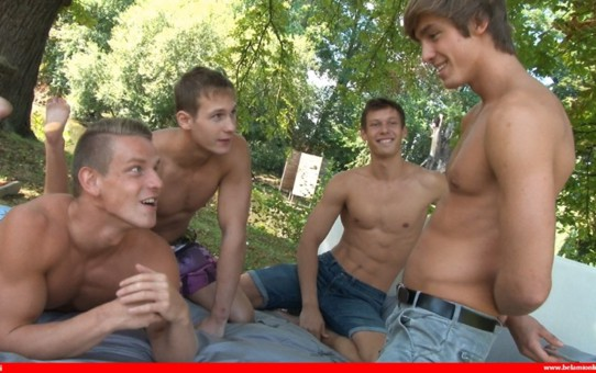 Hot foursome Jeff Mirren, Roald Ekberg, Helmut Huxley and Marcel Gassion bareback ass fucking orgy