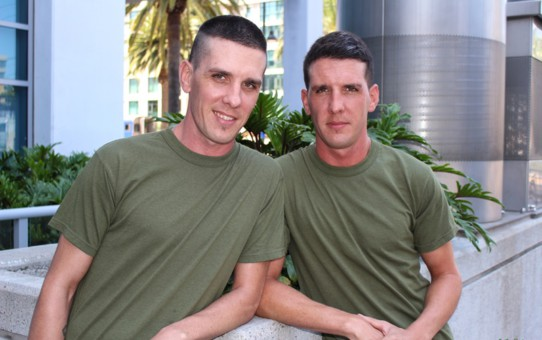 Army boy twins Michael Stax and Jacob Stax stroke their dicks together blowing their loads