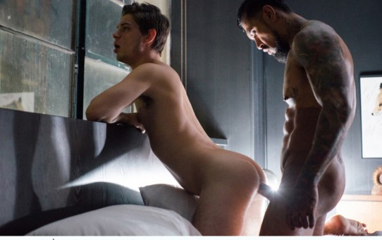 With Michael DelRay's face buried under his balls Boomer Banks shoots his own huge load