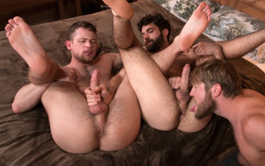 Hardcore ass fucking threesome Colby Keller, Tegan Zayne and Kurtis Wolfe big dicks fuck tight assholes