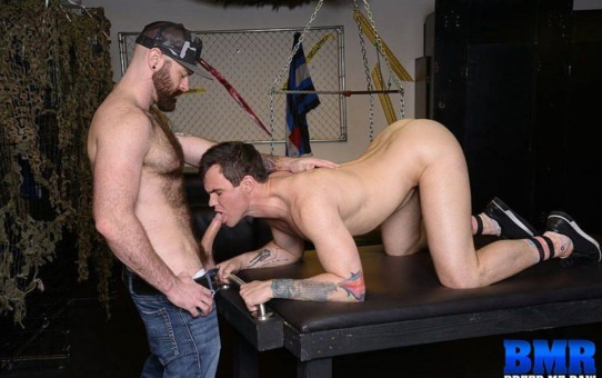 Beau Reed gets on his knees to service Luke Harrington's huge cock