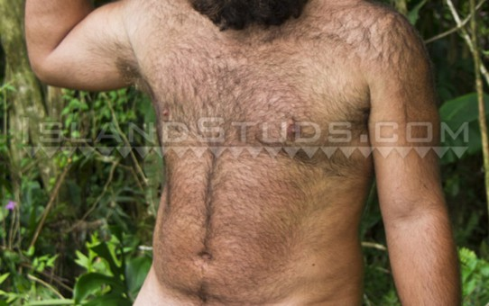 Hairy bear Brawn is a super sexy 27 year old mango farmer who strips and jerks his big uncut dick