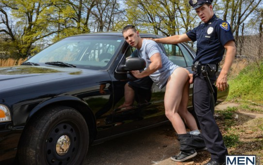 Paul Canon takes JJ Knight's huge cock up on the hood of the police cruiser out in the open air