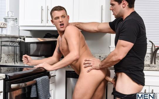 A face-fuck gets Aspen's hot erect cock deep down Brandon Wilde's throat