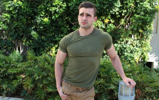 Young ripped army stud Mathias strokes his big dick to a massive orgasm of hot boy cum