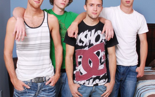Hot twink foursome Blake, Brandon, Sam and Max at Broke Straight Boys