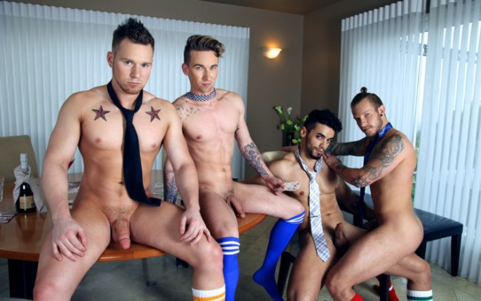 Naked sexy men Jaxon Colt, Ashton Webber, Arad and Owen Michaels hot gay sex foursome