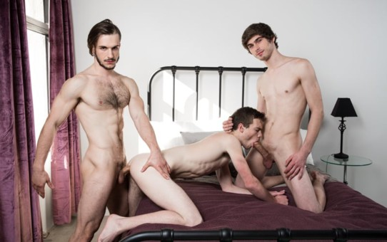 Hot young stud threesome Chad Piper fucks Scott Finn's tight ass as Donte Thick feeds him his big dick
