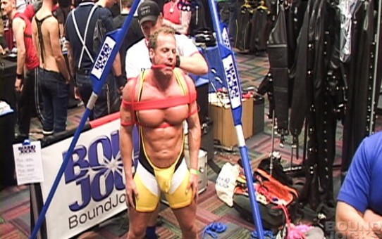 Tied and bound Derek Pain for Bound Jocks in public live at IML
