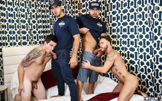 Allen Lucas and Max Wilde fucking with sexy naked lifeguards Damien Stone and Diego Sans