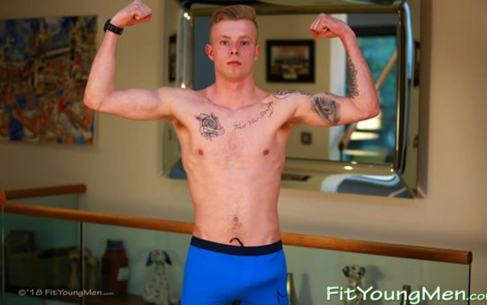 Sexy tattooed young ripped muscle boy Trent Parker strips down to his sexy underwear