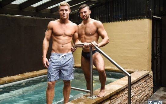 Justin Matthews is shocked to find Shane Jackson in the pool taking a huge dildo up his ass