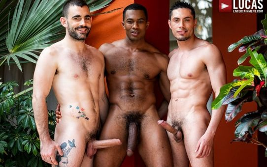 Ashton Labruce sits watching and stroking while BF Max Arion fucks black beauty Sean Xavier hot asshole