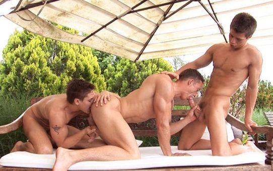 Gorgeous ripped young studs Sascha Chaykin, Vadim Farrell and Phillipe Gaudin hardcore anal fuck fest