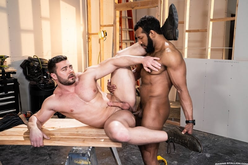 Men for Men Blog Gay-Porn-Pics-015-Derek-Bolt-Jay-Landford-naked-muscle-men-huge-cock-fucking-hot-asshole-RagingStallion Derek Bolt moans with each thrust from Jay Landford's huge cock pummeling his hot asshole Raging Stallion